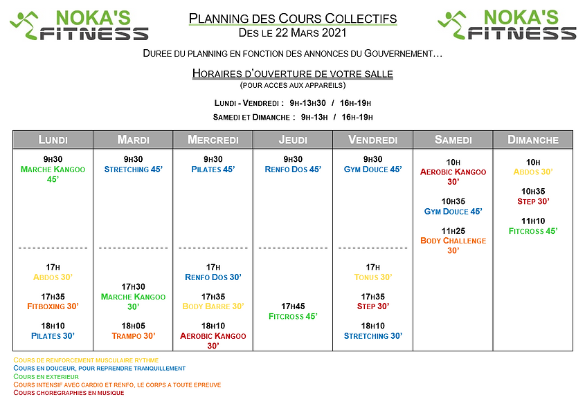 Planning des cours collectifs NOKA'S FIT