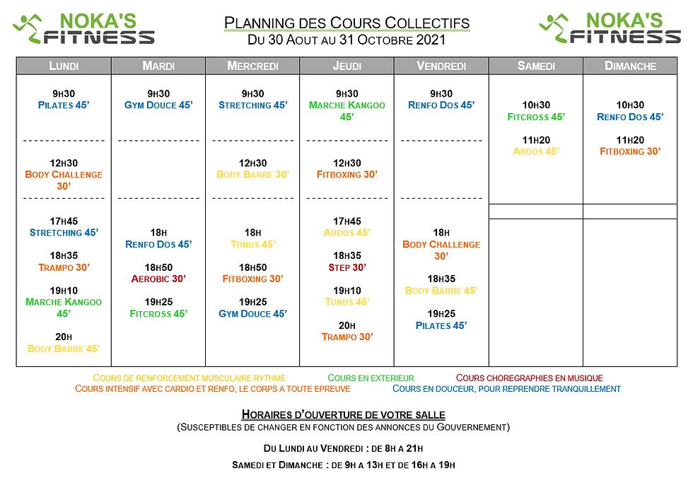 Planning des Cours Collectifs NOKA'S FITNESS - du 30 août au 31 octobre 2021.PNG