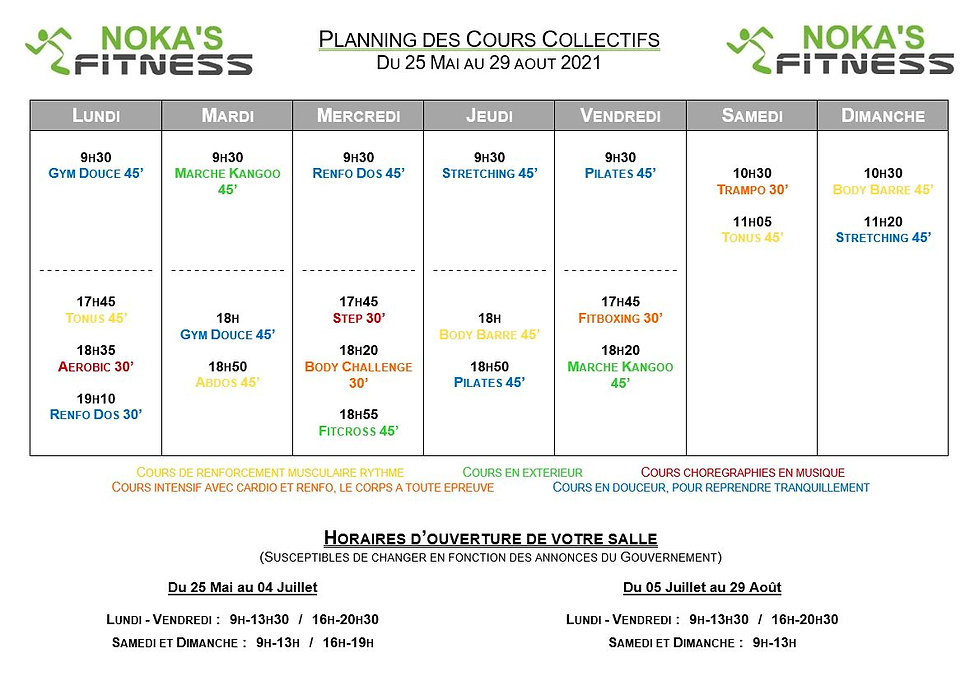 Planning Cours Collectifs NOKA'S FITNESS