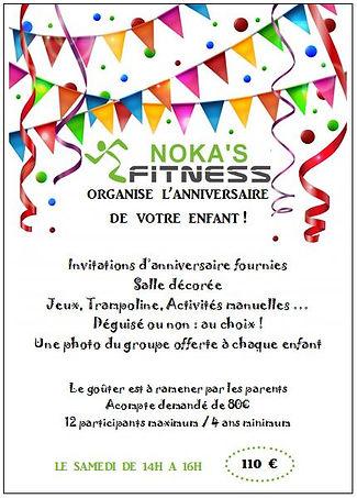 Infos anniversaire enfant NOKA'S FITNESS
