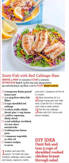 Zesty Fish with Red Cabbage Slaw