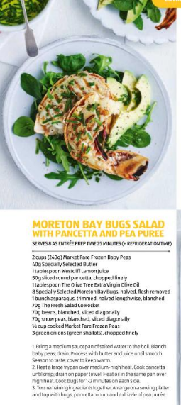 Moreton Bay Bugs Salad with Pancetta and Pea Puree
