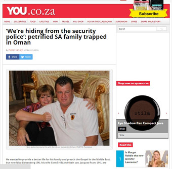 'We're hiding from the security police': petrified SA family trapped in Oman