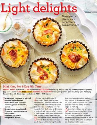Mini ham, pea & egg filo tarts