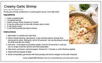 Creamy Garlic Shrimp