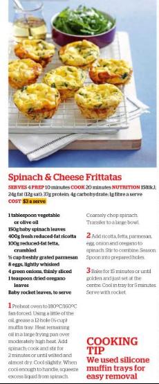 Spinach & cheese frittatas
