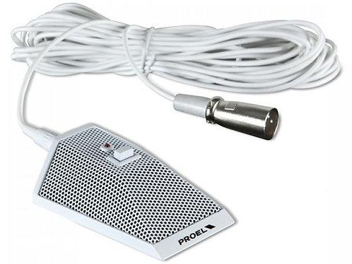 PROEL MIC62W white microfono bianco da tavolo dinamico con tasto