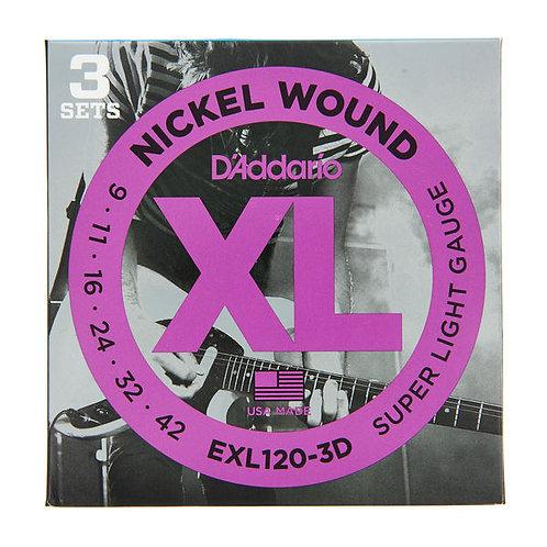 D'addario nickel wound XL 9-42 EXL120-3D 3x Pack