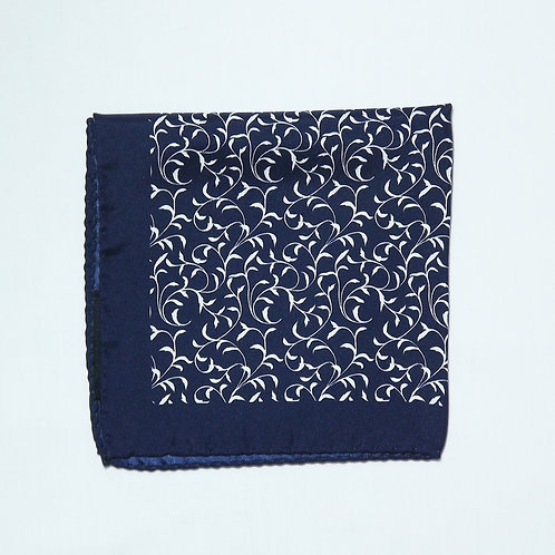 Navy Vine Pocket Square