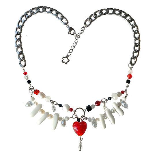 """bones"" heart of hearts choker"