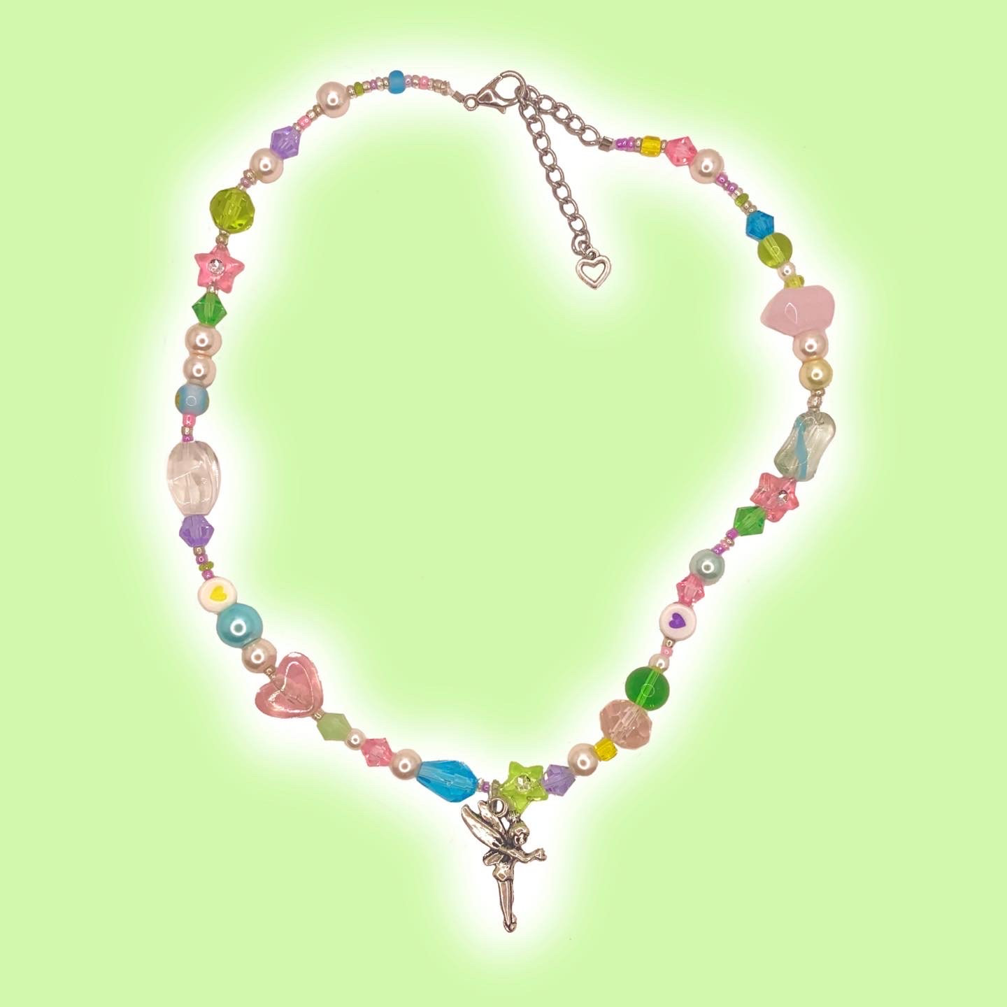 iridescent fairy wings charm chain necklace aesthetic jewelry fairycore accessories silver choker layered necklaces for teenage girls