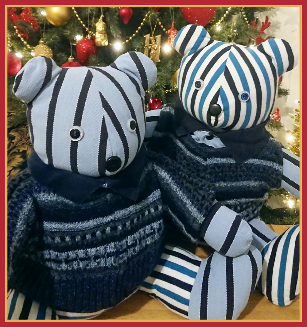 Two memory bears made from old clothes in shades of blue