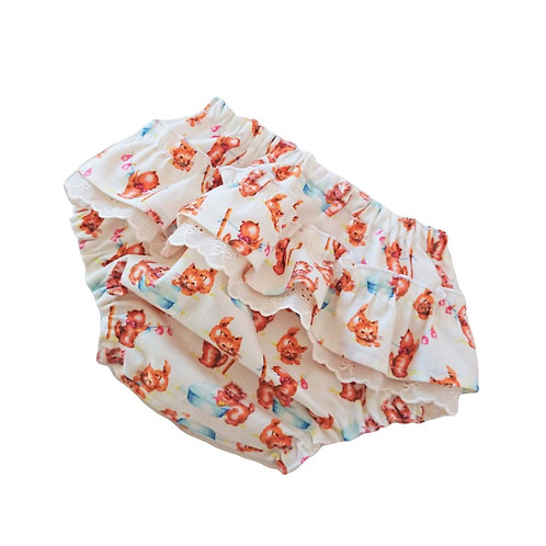 VINTAGE KITTEN FRILLY BLOOMERS 0-3 MONTHS