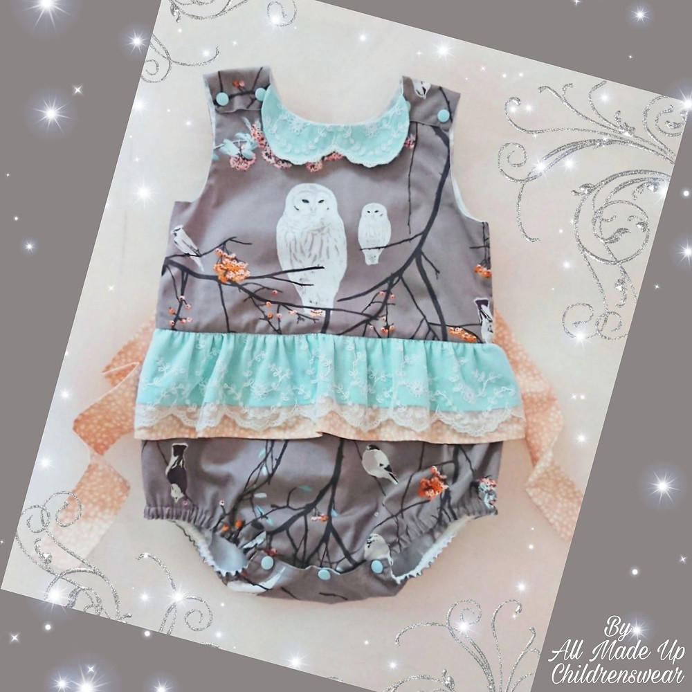 Baby romper with tie belt and frills in gorgeous whimsical owl fabric
