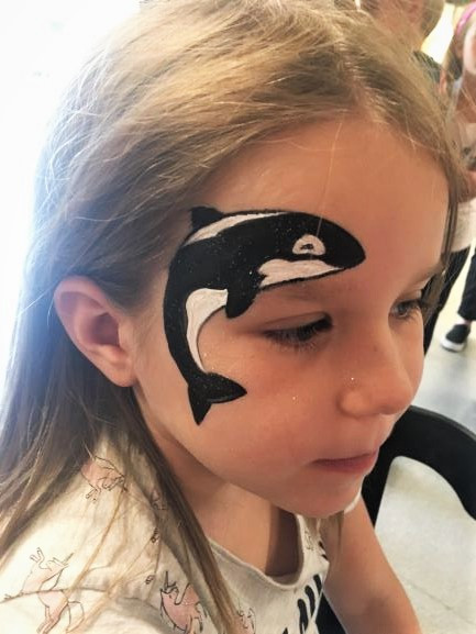 Killer whale face paint design