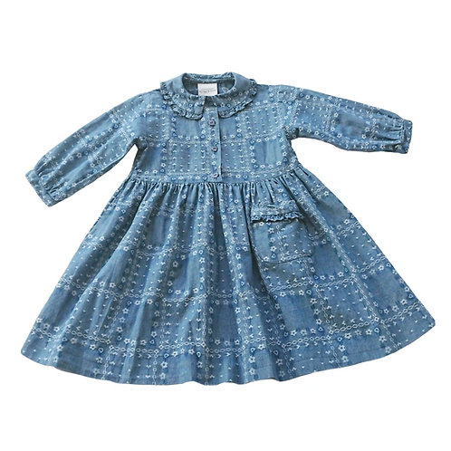 VINTAGE LAURA ASHLEY DENIM BLUE COTTON DRESS 2 YEARS