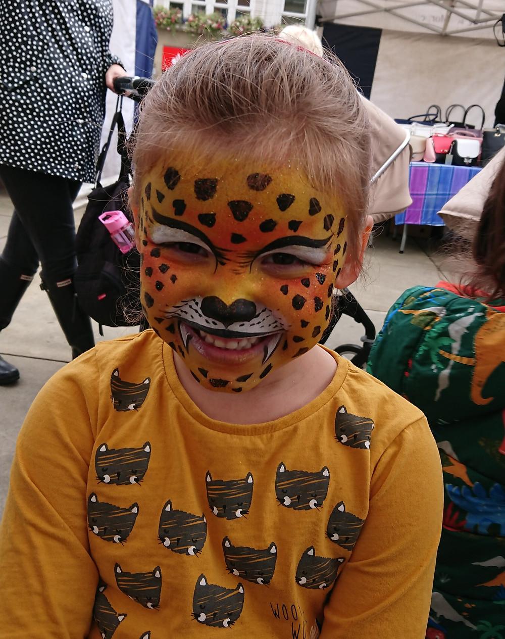 Leopard face paint design