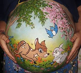 Beautiful baby bump painting (in Newcastle) Disney Bambi design