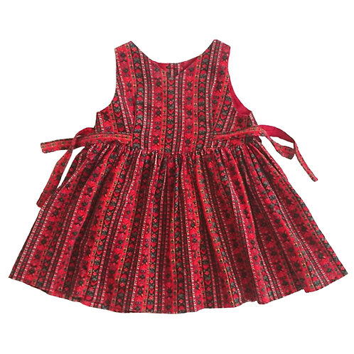 VINTAGE LAURA ASHLEY RED FLORAL STRIPE CORDUROY DRESS 12 MONTHS