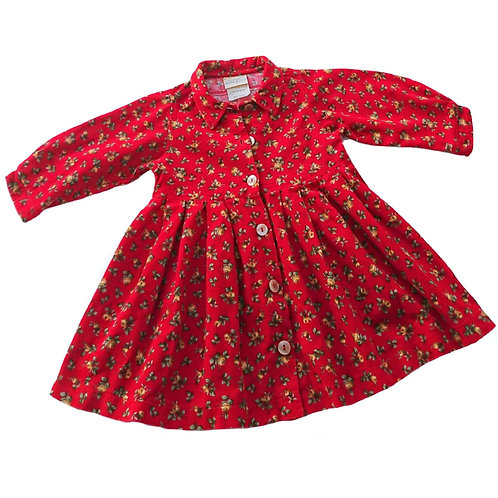 VINTAGE LAURA ASHLEY RED FLORAL CORDUROY DRESS 12 MONTHS