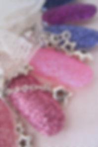 Glitter nails (in Newcastle) in pink glitter. Glitter nails in blue glitter. Glitter nails in purple glitter