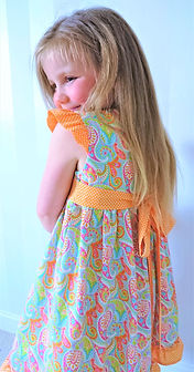 handmade childrens clothes - handmade party dress in spring colours