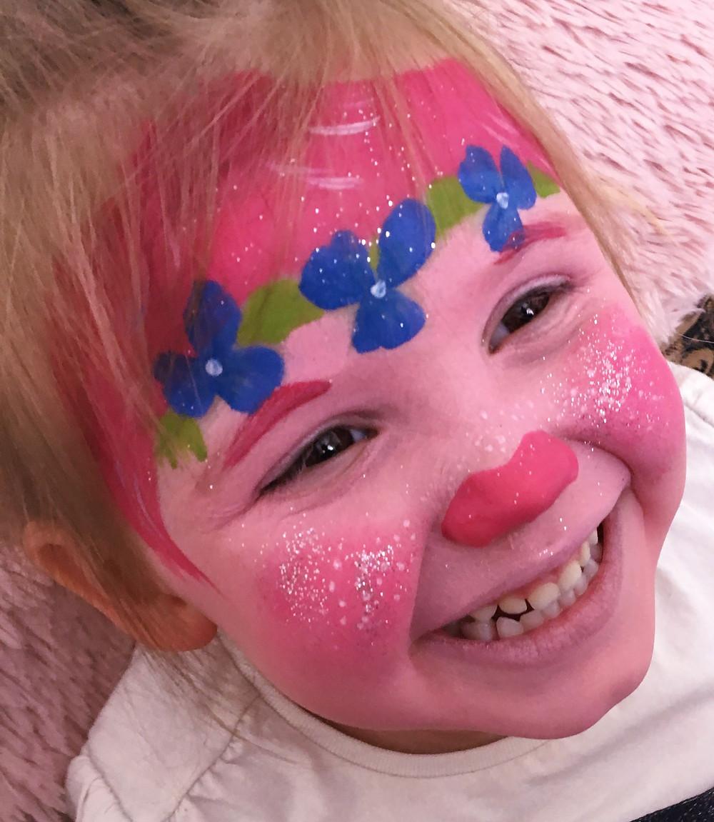 Princess Poppy Face Paint Design - Trolls Face Painting