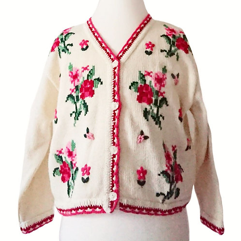 VINTAGE LAURA ASHLEY EMBROIDERED CARDIGAN 4-5 YEARS