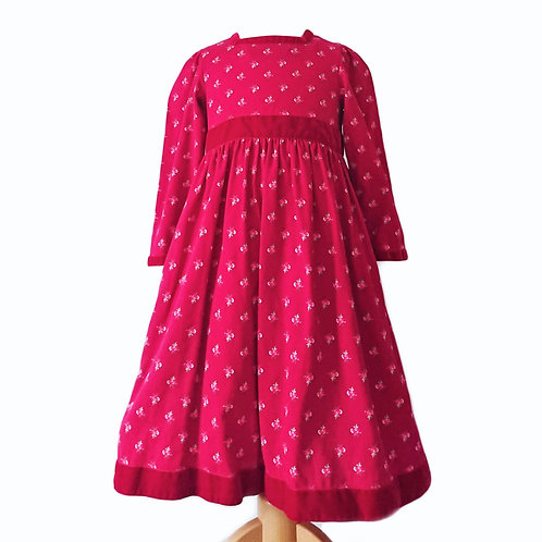 VINTAGE LAURA ASHLEY DRESS MAGENTA WITH PINK ROSE BUDS         4 YEARS