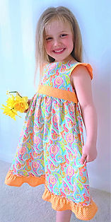 handmade children clothes - handmade party dress in spring colours