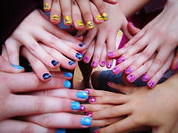 Colourful nail art at a pamper party in Cramlington