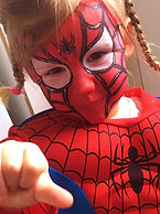 Great Spiderman character face painting or in this case Spidergirl face painting (in Jesmond)