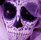 Day of the Dead sugar skull face painting (in Newcastle) in purple and white