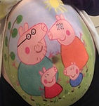 Bump art with Peppa Pig family painted on (gestational art in Newcastle)