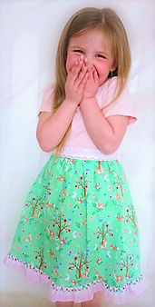 handmade childrens clothes - handmade skirt in springtime woodland animals faric