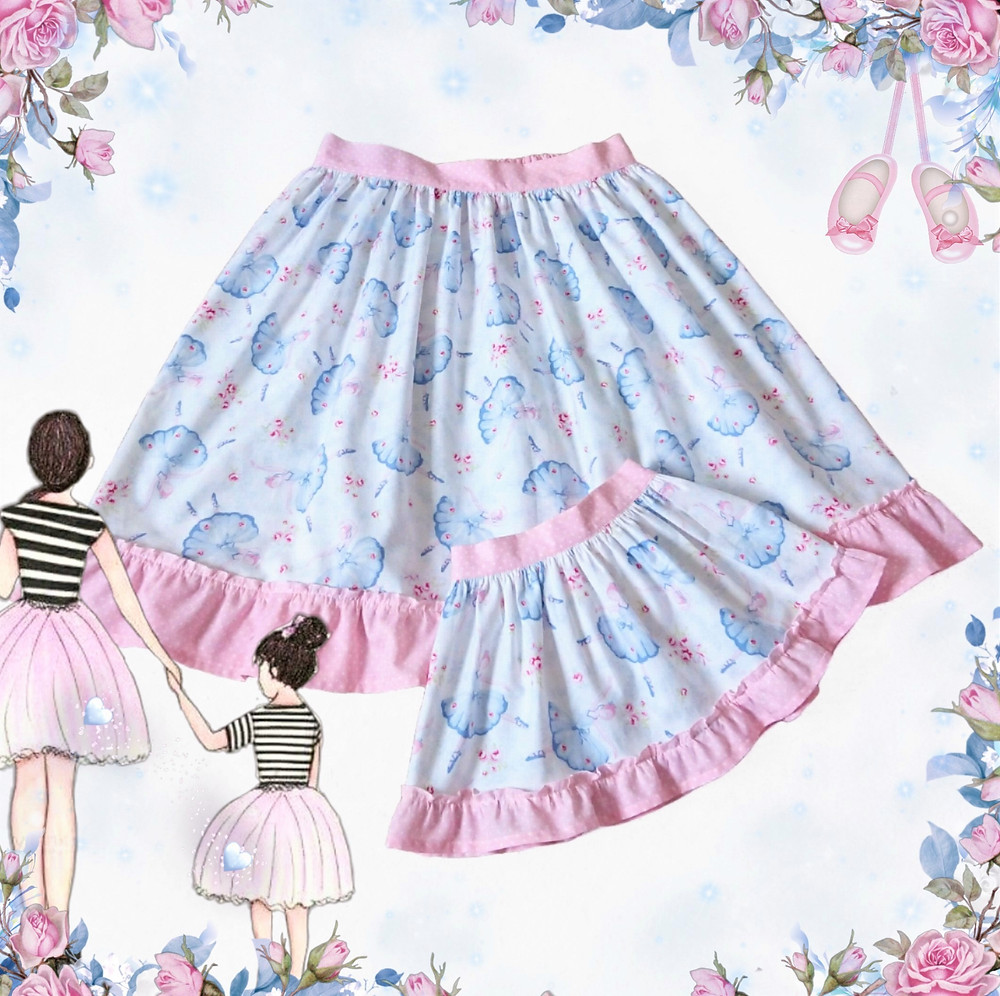 Matching ladies and children's skirt in gorgeous 'Ballet Rose' fabric