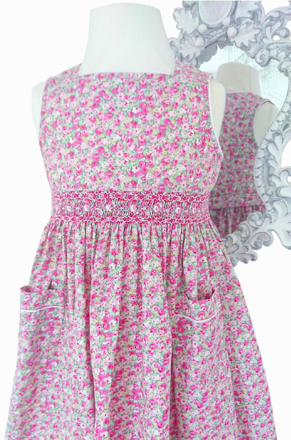 Beautiful pink floral vintage dress with smocking