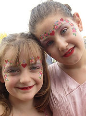 Pretty princess face painting (in Newcastle) with hearts and flowers