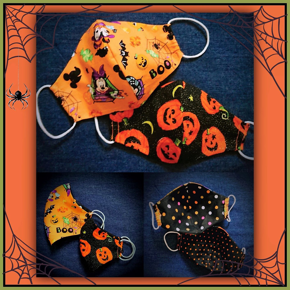 Fun face coverings made in Halloween fabrics