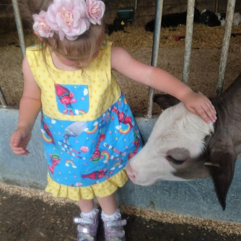 Little girl wearing colourful Trolls play dress stroking a calf on the farm