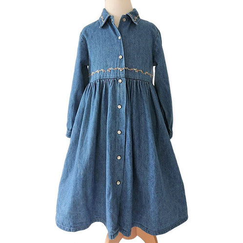 VINTAGE LAURA ASHLEY DENIM DRESS WITH EMBROIDERED DETAIL 5 YEARS