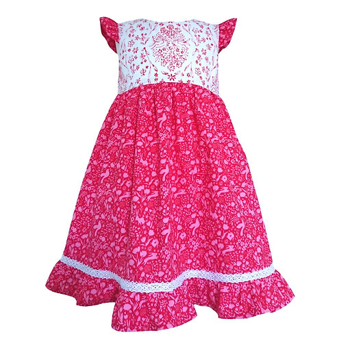 SOMMER RED PARTY DRESS 5-6 YEARS