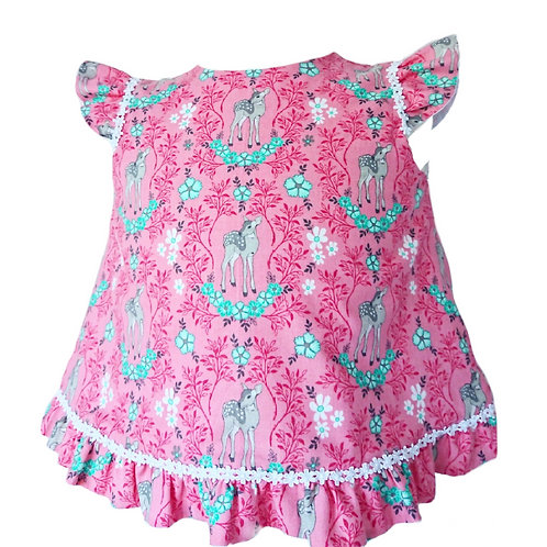 FAWN & FLORAL FRILL BACK TOP 3-4 YEARS