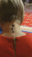 Realistic temporary ink tattoo (in Sunderland) of stars on back of neck