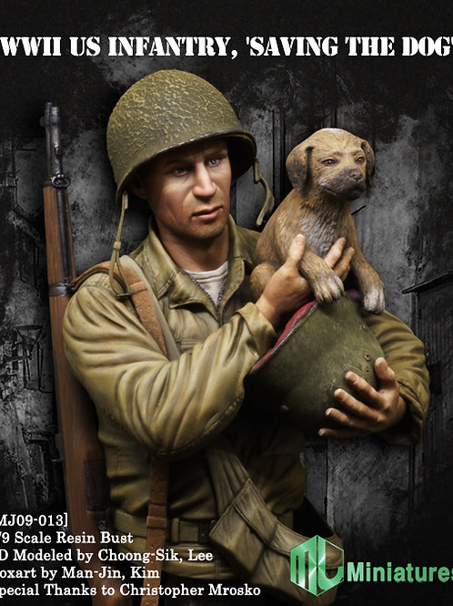 WW2 US Infantry, 'Saving the dog'