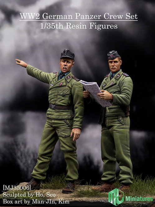 WW2 German Panzer Crew Set (2 Figures, 4 Heads)
