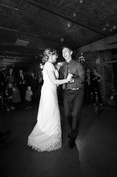 The bride and grooms first dance as husband and wife. Country wedding at Boyd Baker House, Victoria, Australia.