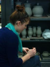 Hannah working at UALR