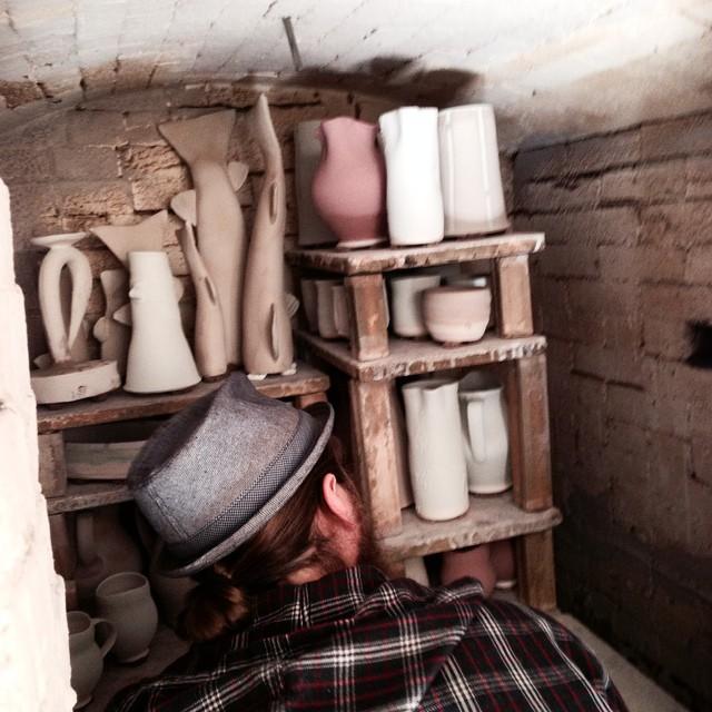 Logan loading Steve's wood kiln
