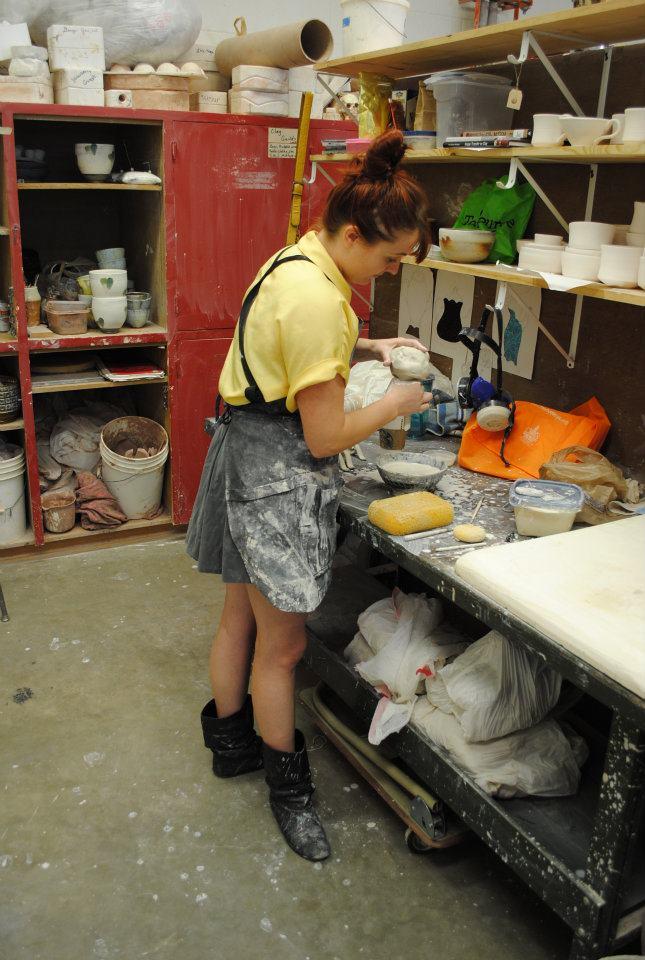 Hannah working in UALR studio